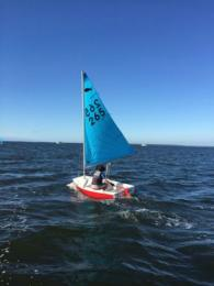 Jaime racing with 50buck's new sails in the Winter Series