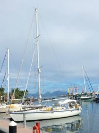 In the marina at Papeete, Tahiti.   Moorea is in the background