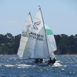 Close competition on a beautiful day in Div racing 21 Feb