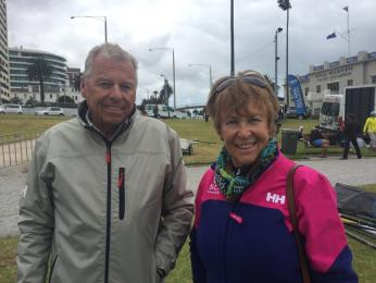 Frank and Barbara Nott at The Sailing World Cup supporting their grandkids who were sailing in the Opti fleet