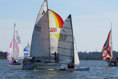 A busy course in just barely enough wind in the Victoria Triangle over Easter