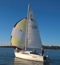 Kalimna manages to fill her spinnaker in the first Winter Series race