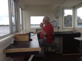 The tower room has been made functional and habitable to enable our radio chief Alastair