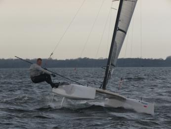 Mitch Meade sails his foiler A class in Div on 3rd and pitch poles later in the race