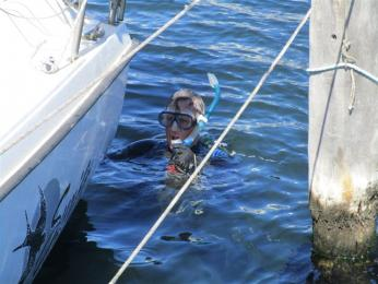 David Parish diving for his hatch covers after they were thrown in the water by the vandals.
